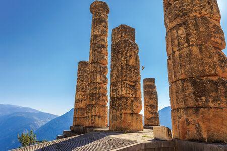 delphi: ruins of Apollo temple in Ancient Delphi, Greece