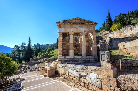 treasure of Athenians in Ancient Delphi, Greece Stock Photo