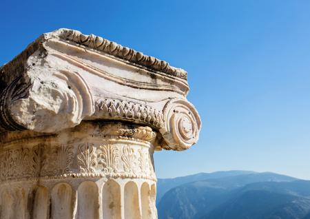delfi: capital of Ionian order column in Ancient Delphi, Greece