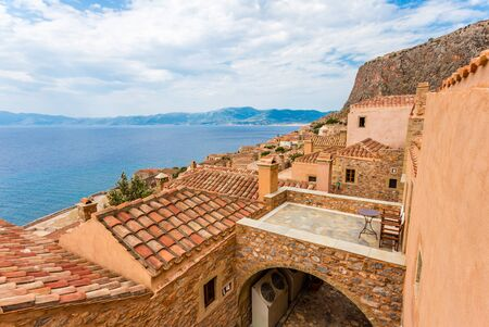 laconia: tile roofs of medieval city Monemvasia, Peloponnes, Greece Stock Photo