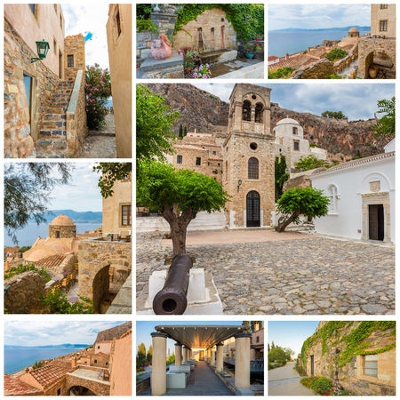 sights: Collage of traditional views of stone houses and sights in mani Peloponnese Stock Photo