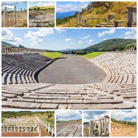 messenia: Collage of Ancient Messina, Peloponnese, Messenia, Greece Stock Photo