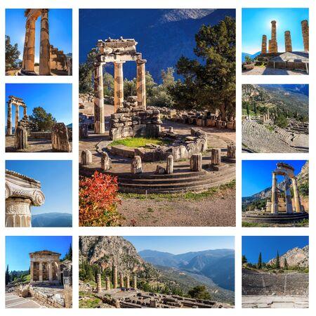 delphi: collage of ruins  temple in Ancient Delphi, Greece