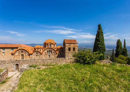 Byzantine church in medieval city of Mystras, Peloponnes, Laconia, Greece