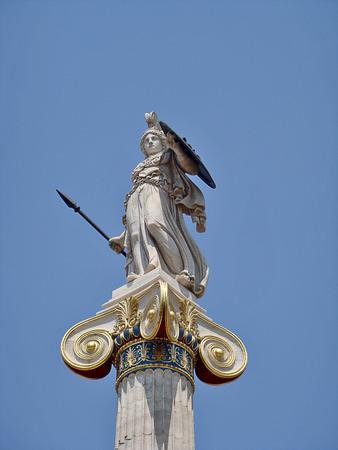 athena: Statue of Athena the defender Academy of Athens, Greece
