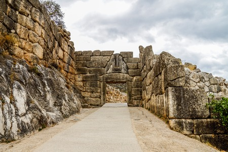 peloponissos: Lion Gate at Mycenae, Argolidam Greece. Travel Stock Photo