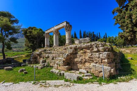 peloponnes: ruins of temple E in Ancient Corinth, Peloponnes