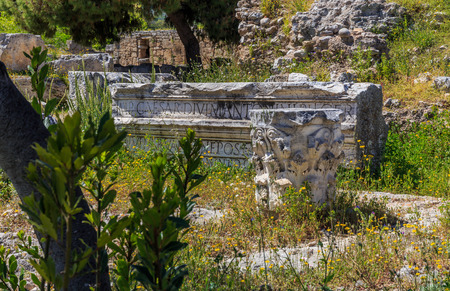 polis: marble roman antiquities in Ancient Corinth, Peloponnes Stock Photo