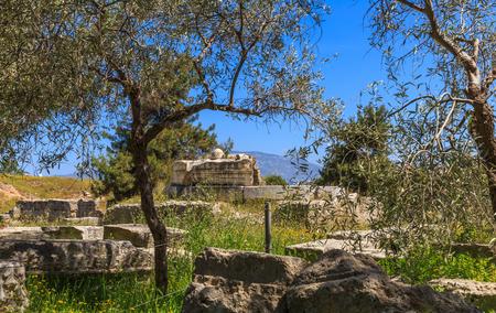 peloponnes: marble roman antiquities in Ancient Corinth, Peloponnes Stock Photo