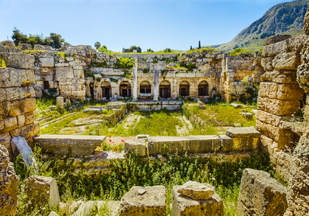 polis: roman ruins of baths in Ancient Corinth, Peloponnese Stock Photo