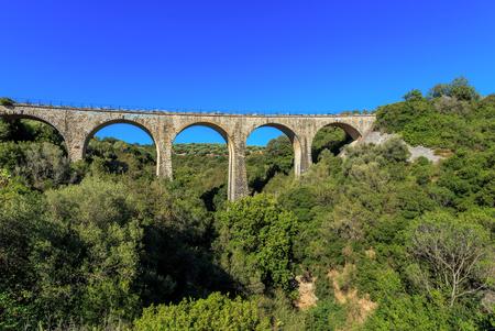 old railroad arch bridge on Peloponnes, Greece
