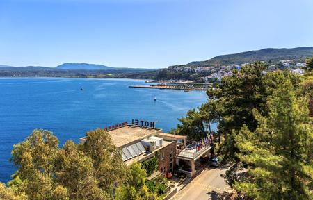 view on Pylos and Navarino bay, Peloponnese, Greece