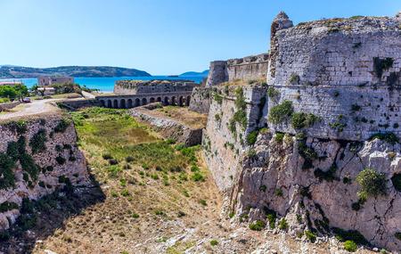 messenia: walls of ruin medieval castle in Methoni, Peloponnese Stock Photo