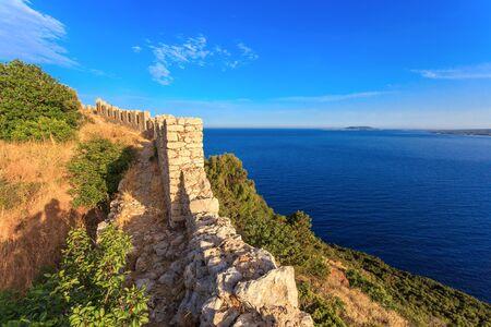 peloponnes: view on Ionian sea from Paleokastro, Messenia