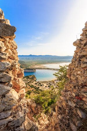 view on Voidokilia beach from Paleokastro, Messenia