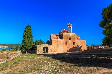 peloponnes: inside the Neokastro fortress Church Transfiguration of the Lord Stock Photo