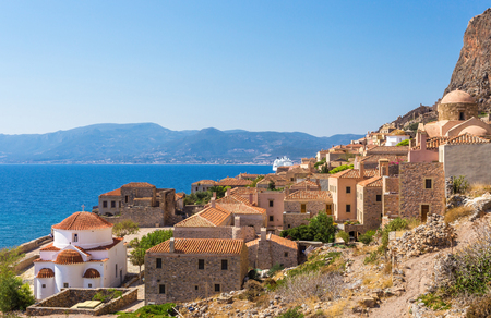 Monemvasia the medieval town in Peloponnese, Greece Imagens - 68042728
