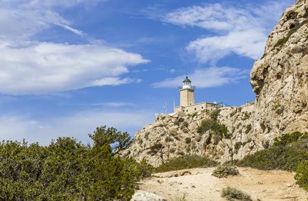 distant view on lighthouse in Melagavi near Loutraki, Loutraki