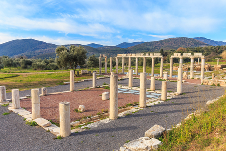ruins of meat market in ancient Messina, Greece