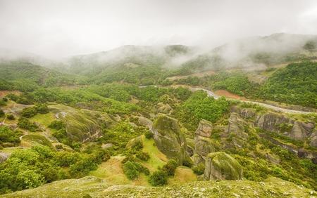 Meteora rocks after the rain