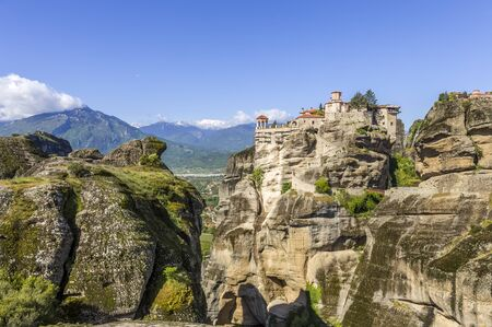 distant view on Grand Meteoro monastery, Greece