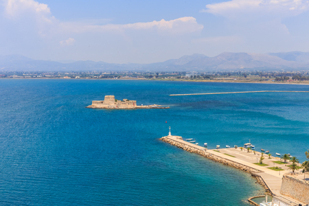 Bourtzi water fortress in Nafplio. Nafplio is a seaport town in the Peloponnese peninsula in Greece Stock Photo