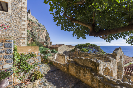 streets of Byzantine town of Monemvasia, Greece Imagens