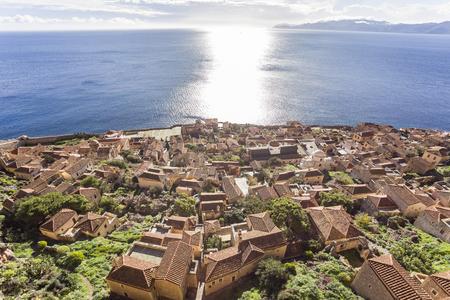 aerial view on Byzantine town of Monemvasia, Greece