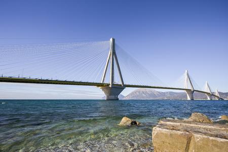 panoramic view of suspension bridge Rio - Antirio near Patra, Greece Stock Photo