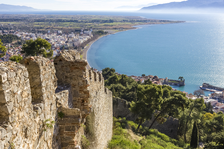 Breathtaking view from the walls of fortress of Nafpaktos, Greece Imagens