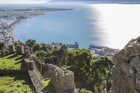 breathtaking view from the walls of fortress of Nafpaktos, Greece 05 JAN 2018
