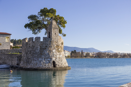 Seashore fortress view of Nafpaktos, Greece