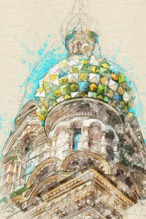 Sketch of Church of the Savior on blood in Saint-Petersburg Standard-Bild