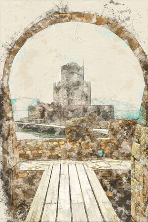 Vintage sketch postcard of The Methoni Venetian Fortress in the Peloponnese, Messenia, Greece. Stock Photo