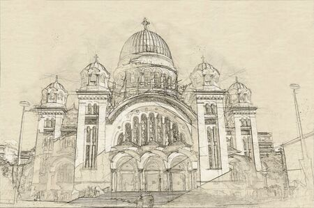 Sketch of St. Andrews Cathedral in Patra, Peloponnes, Greece