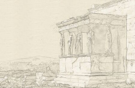Sketch of ruins of Acropolis, Athens Stock Photo