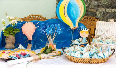 christening favors - blue baby boy favors - greek Orthodox baptism decor Standard-Bild