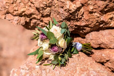wedding bouquet on the stone