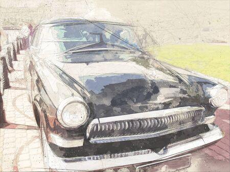 Watercolor postcard of Retro car, watercolor hand drawn , retro-mobile