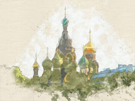 watercolor sketch painting of church of Savior on Spilled Blood , Russia