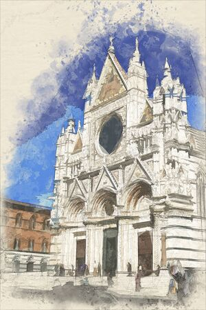 Watercolor of picture of the famous Siena Cathedral in Siena, Italy
