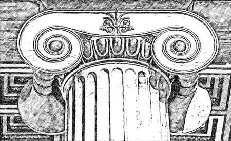 Sketch pencil of capital of Ionian column
