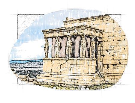 caryatids against dramatic sky in Athens, Greece Standard-Bild - 151321385