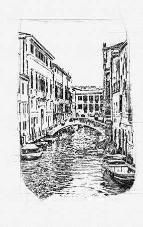 Beautiful venetian street in summer day, Italy