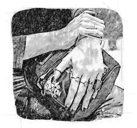woman hands with fau bijou on blue back pack Standard-Bild