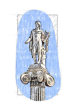 statue of Apollon on the column in fromnt of Athens Academy building