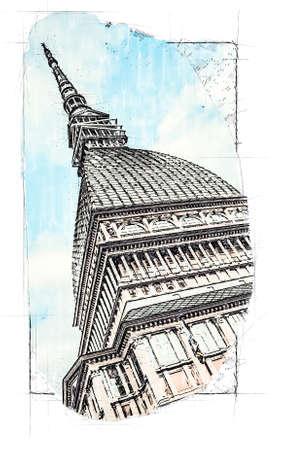 The tower Mole Antonelliana, symbol of Turin, Italy Standard-Bild