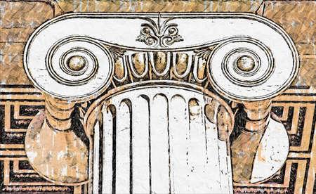 th capital of Ionian column Standard-Bild