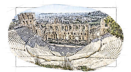 ruins of ancient theater of Herodion, Athens Standard-Bild