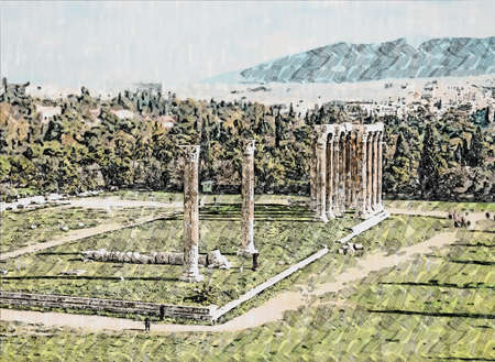 ruins of ancient temple of Zeus, Athens, Greece, hand drawn Standard-Bild